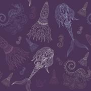 Seamless pattern illustration of sea girl Ornamental Mermaid Doodle handrow.. Stock Illustration