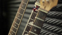 Guitar picks hand on the fretboard Stock Footage