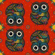 Vector illustration of owl. Bird illustrated in tribal.Owl whith Stock Illustration