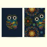 Vector set illustration of ornamental owls. Bird illustrated in tribal. Stock Illustration