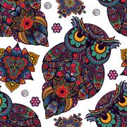 Vector illustration of owl. Bird illustrated in tribal.  with flowers on li.. Stock Illustration