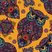 Vector illustration of owl. Bird illustrated in tribal. whith Stock Illustration
