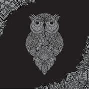 Vector illustration of ornamental owl. Bird illustrated in tribal. Stock Illustration