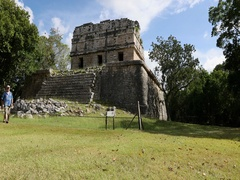 Mexico Chichen Itza historic Mayan ruins man towards DCI 4K Stock Footage