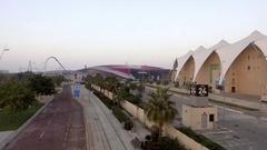 ABU DHABI, UNITED ARAB EMIRATES  Aerial view of Ferrari World Arkistovideo