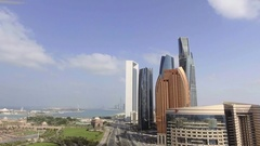 Abu Dhabi Downtown from Corniche Road Stock Footage