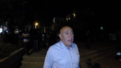 Arab Israeli Member of Knesset Dr Basel Ghattas talks to the press Stock Footage