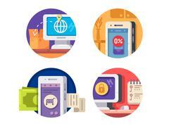 Internet technology icons Stock Illustration