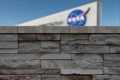 Jib reveal of NASA Headquarters (Johnson Space Center) Stock Footage
