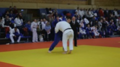 Winning IPPON judoka man athlete Stock Footage