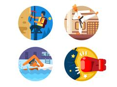 Active sports icons Stock Illustration