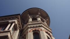 Beautiful historical facade with balconies in Verona Stock Footage