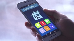 4K Smart Home Temperature Control on Smartphone App - Heating Stock Footage
