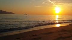 Sunset at the beach of Keramoti Stock Footage