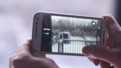 4K Smartphone Taking a Picture of a Winter Landscape Stock Footage