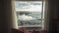 TIme Lapse of Niagara Falls from Hotel Room Window Sun / Clouds Stock Footage
