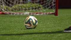 Soccer practice goal shot smooth slow mo Stock Footage