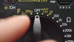 Turn on digital multimeter Stock Footage