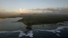 Aerial view of Mauritius surrounded with Indian Ocean Stock Footage