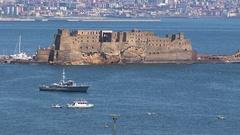 Naples, Castel dell'Ovo and Vesuvius Stock Footage