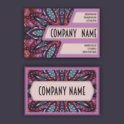 Vector vintage visiting card set. Floral mandala pattern and ornaments. Ori.. Stock Illustration
