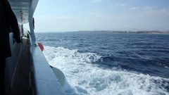 View from side deck of moving luxury yacht Stock Footage