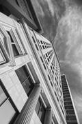 Black and white picture of skyscrapers in Salt Lake City. Kuvituskuvat