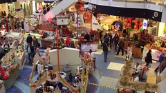 WARSAW, POLAND - DECEMBER, 18, 2016. 4K pan of Christmas sale at typical modern Stock Footage