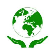 Hands Holding The Green Earth Globe Vector Piirros