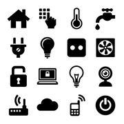 Smart Home Management Icons Set. Vector Stock Illustration
