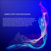 Vector Abstract background with color waves on blue Stock Illustration