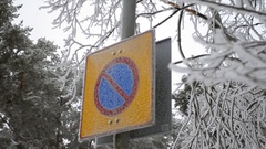 Finland road sign No parking in hoarfrost Stock Footage