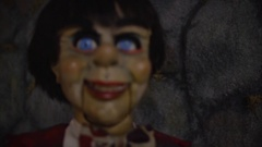 Scary Ventriloquist dummy doll - horror fear monster Stock Footage