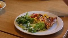 Plate of healthy food being eaten Stock Footage