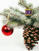 New year celebration, Christmas holiday stuff, tree, toys, decoration with snow Stock Photos