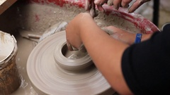 Potter's wheel lesson 3 Stock Footage