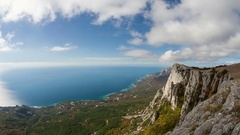 Clouds float over the sea and the mountains. Timelapse. Stock Footage