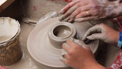 Potter's wheel lesson 4 Stock Footage