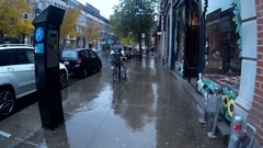 Montreal streets on a rainy day - Plateau Mont-Royal - Gopro Stock Footage