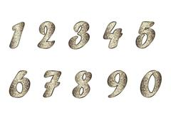 Set of numbers in golden-brown tones Stock Illustration