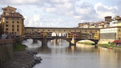 Ponte Vecchio, Old Bridge, Florence, Italy Stock Footage