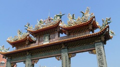 Gate of grand Mazu temple at blue sky Stock Footage