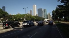 Summer drive down Lake Shore Drive in Chicago Stock Footage