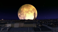 EIFFEL TOWER,PARIS CITY Big Moon Stock Footage