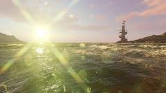 LIGHTHOUSE and sun flares ,calm scene Stock Footage