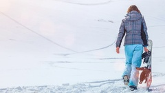 Snowboarder girl. Back view Stock Footage