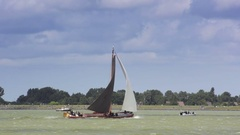Skutsje classic sailboats Stock Footage