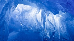 Blue ice cave. Slow motion 4K footage Stock Footage