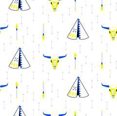Tribal navajo teepee seamless vector pattern Stock Illustration