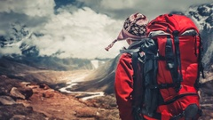 Hiking in Himalaya mountains Stock Footage